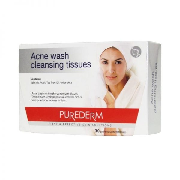 Purederm Acne Wash Cleansing Tissue - 30 Tissues