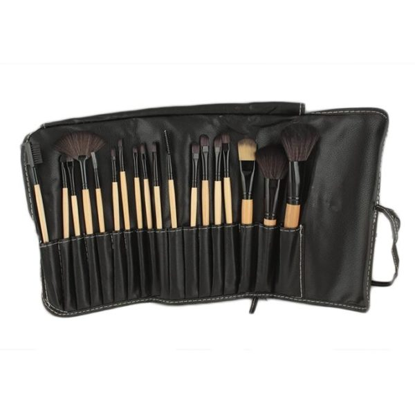 Sophia Asley Professional Wooden Brush Kit with Leather pouch 18 Pcs
