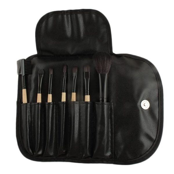 Sophia Asley Professional Wooden Brush Kit with Leather pouch 8 Pcs