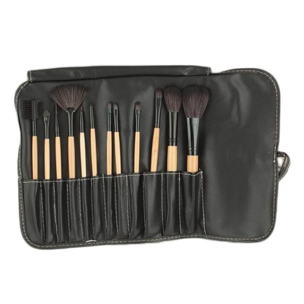 Sophia Asley Professional Wooden Brush Kit with Leather pouch 12 Pcs