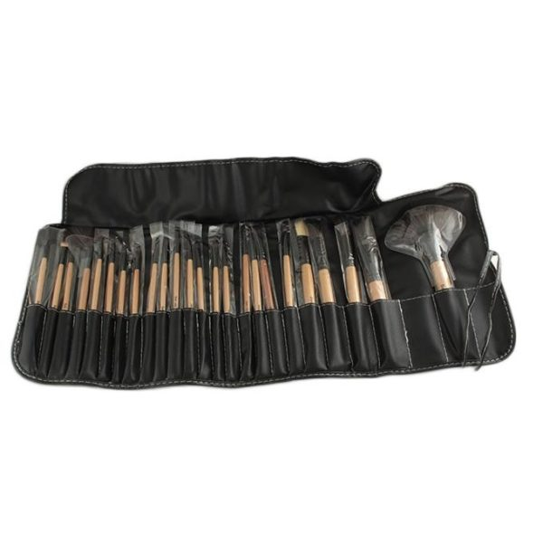 Sophia Asley Professional Wooden Brush Kit with Leather pouch 24 Pcs
