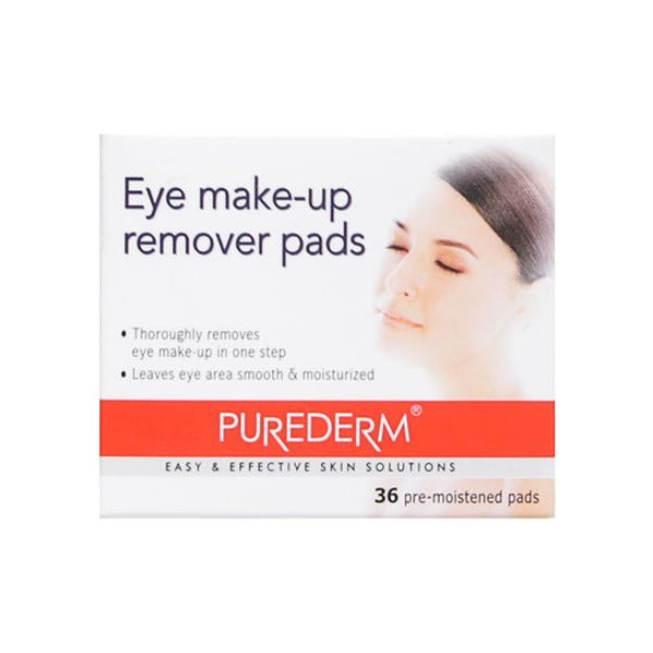 Purederm Eye Make-up Remover Pads - 36 Pre-moistened Pads