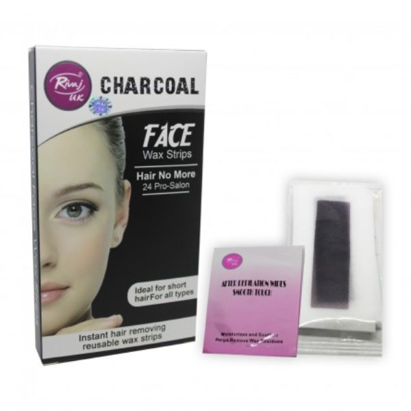 Rivaj Uk Charcoal Reusable Face Wax Strips - 24 Strips
